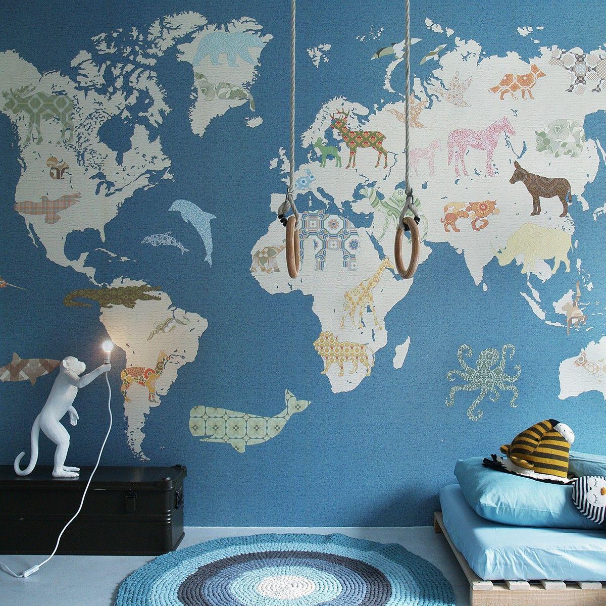 Papierpeintmappemonde Déco Papier Peintpaper Wall Kids Room