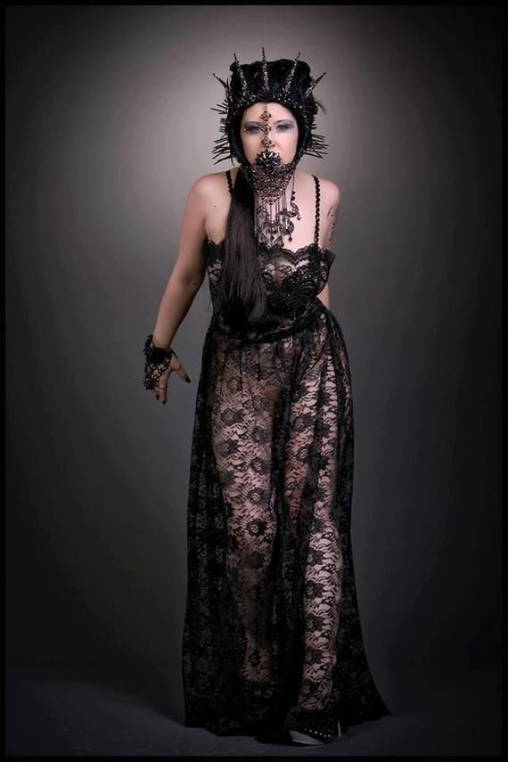 3b3e0f16893 Sheer Gown black lace dress Gothic dress Beaded dress witchy dress ...