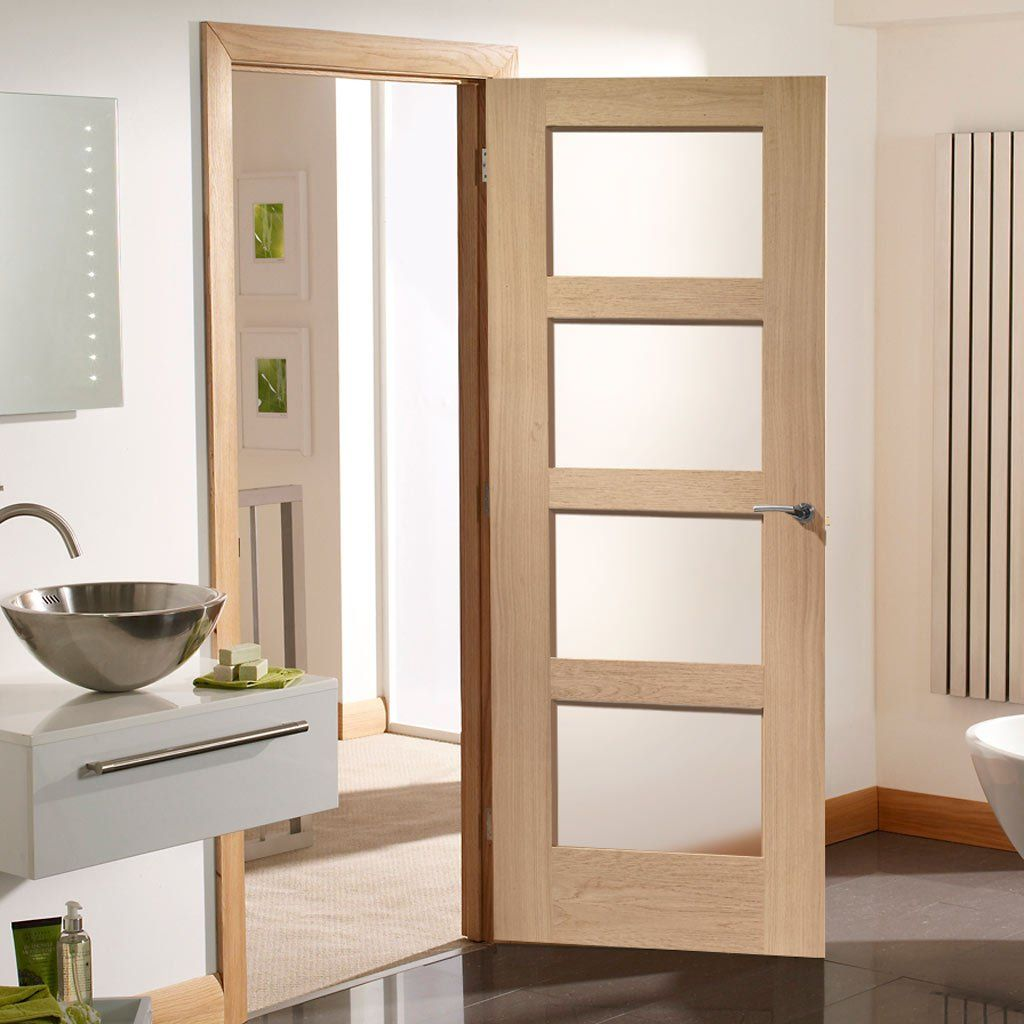 Fire Rated Shaker 4 Pane Oak Door Clear Glass 1 2 Hour Fire Rated Oak Fire Doors Fire Doors Glazed Fire Doors