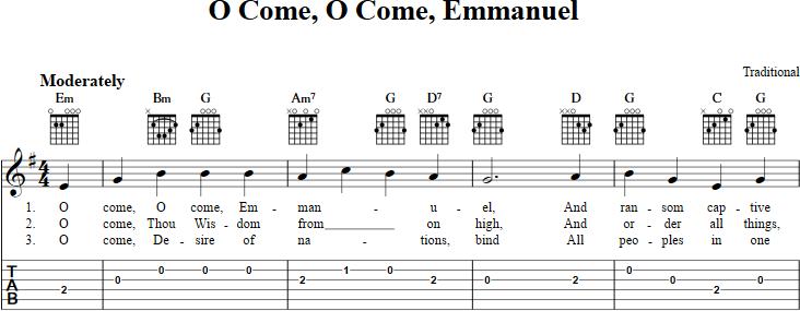 O Come, O Come Emmanuel sheet music for guitar with chords, lyrics ...