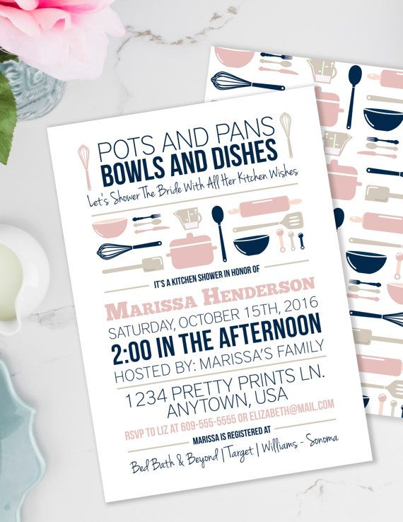 Kitchen Bridal Shower White Countertops Stock The Invitation Pots And Pans Printable Invite Retro Blush