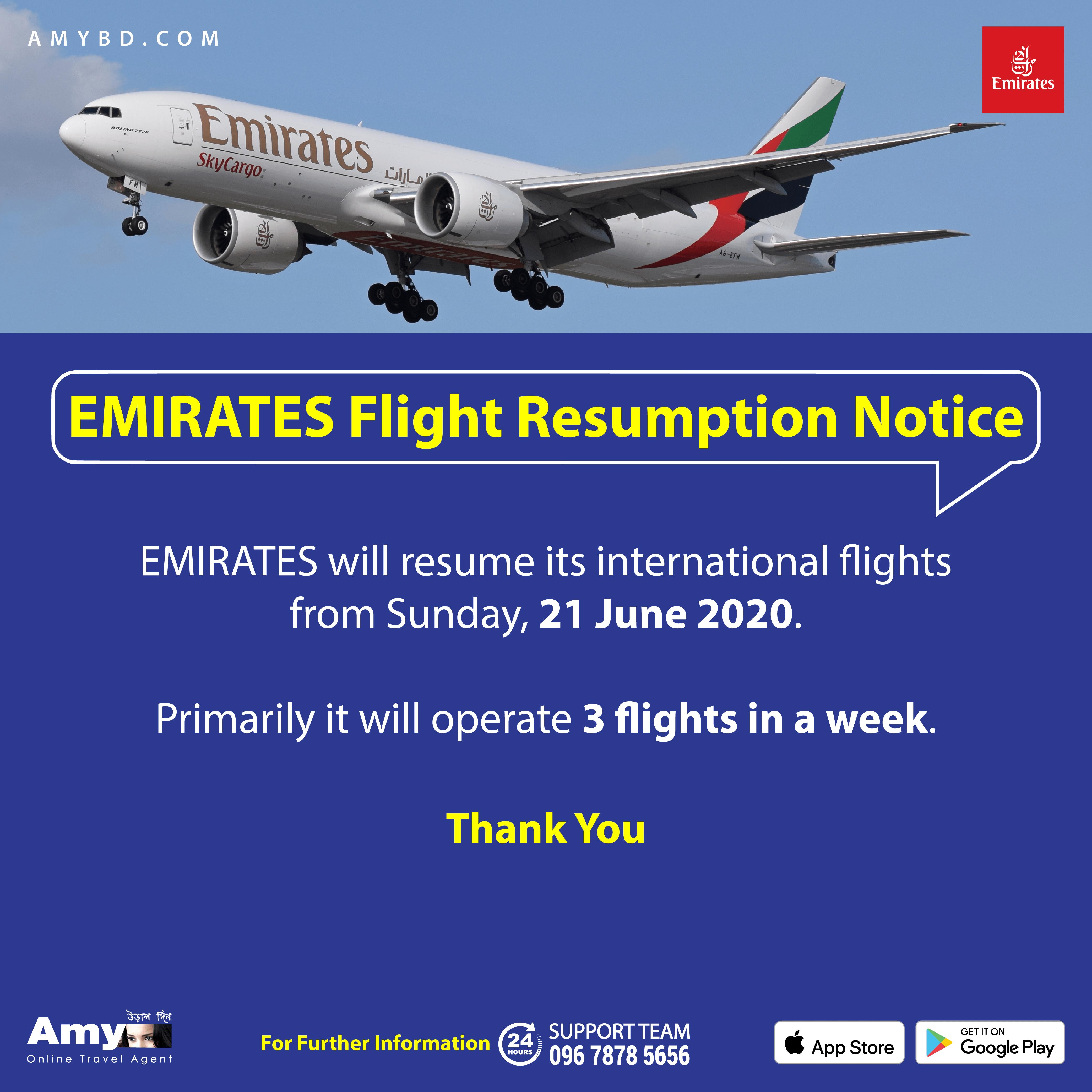 Emirates Resume Flights in 2020 Online travel agent