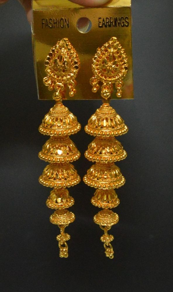 South Indian Gold Plated 5 Step Long Jhumka Jhumki Earrings