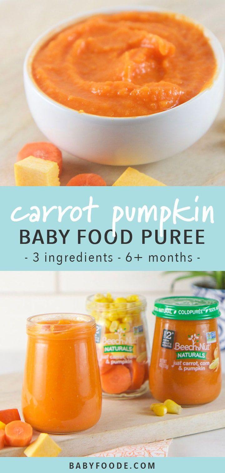 Carrot corn pumpkin baby food puree recipe baby