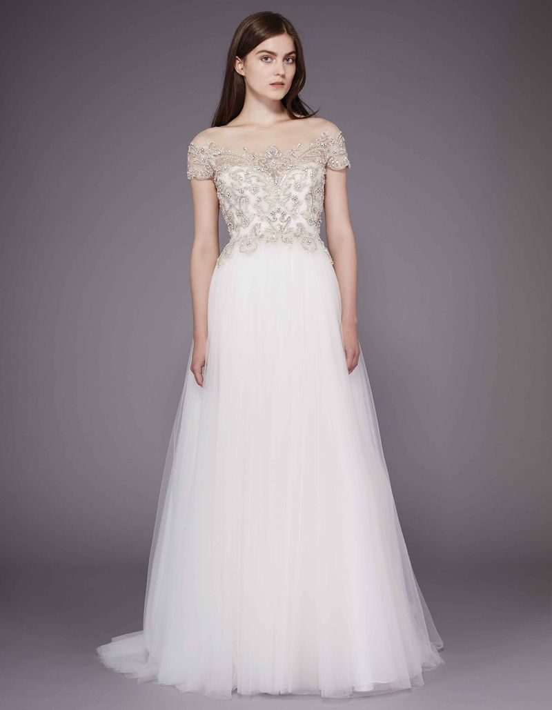 Tulle skirt wedding dress   Beaded Bodice Tulle Skirt Wedding Dress  Cold Shoulder Dresses