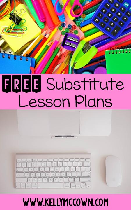 substitute teacher lesson plan editable
