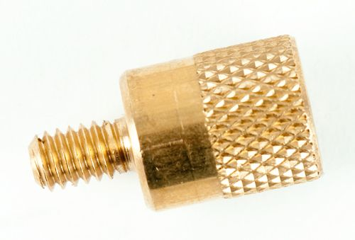 The shotgun brush adapter is used to adapt to shotgun brush threads that do not have 8-32 threads. One end has the standard 8-32 threads, which will screw into the Otis Memory-Flex® cleaning rods, and the other end has 5/16-27 threads for shotgun brushes you may currently own.