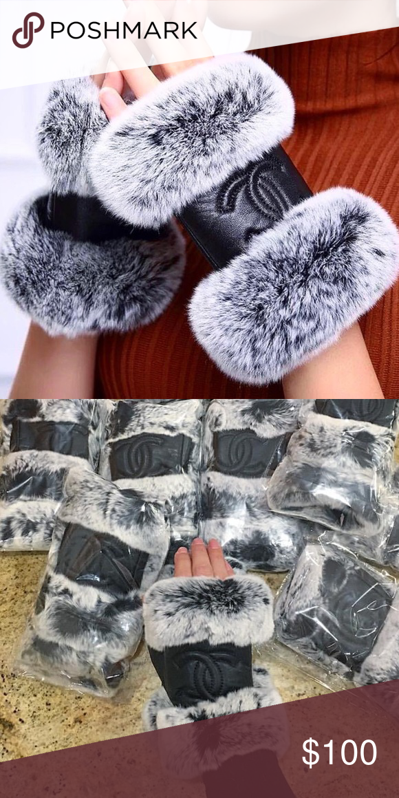 Black Chanel and gray fur look fingerless gloves Chanel and leather look. Not real. Very good quality and trendy. Make an offer CHANEL Accessories Gloves & Mittens
