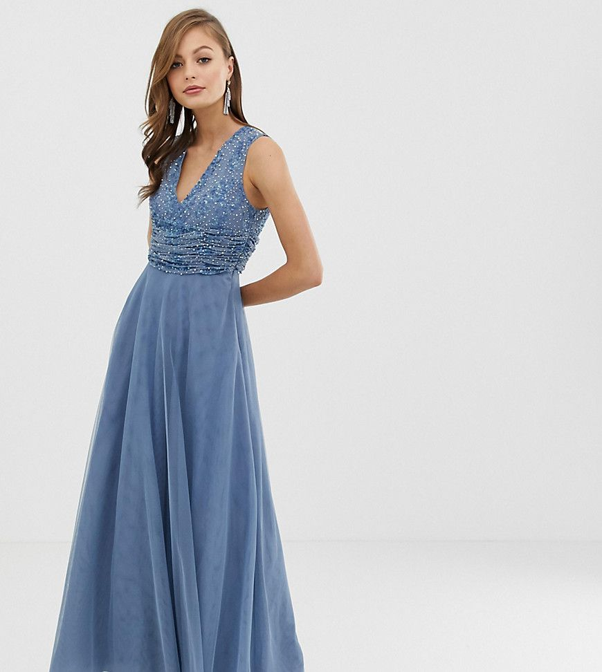 Asos design bridesmaid maxi dress with pearl and sequin