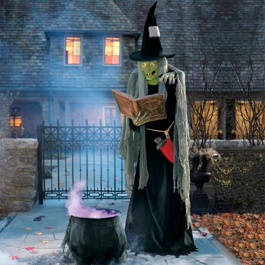 Life-size Spell Casting Witch Animated Figure Halloween - life size halloween decorations
