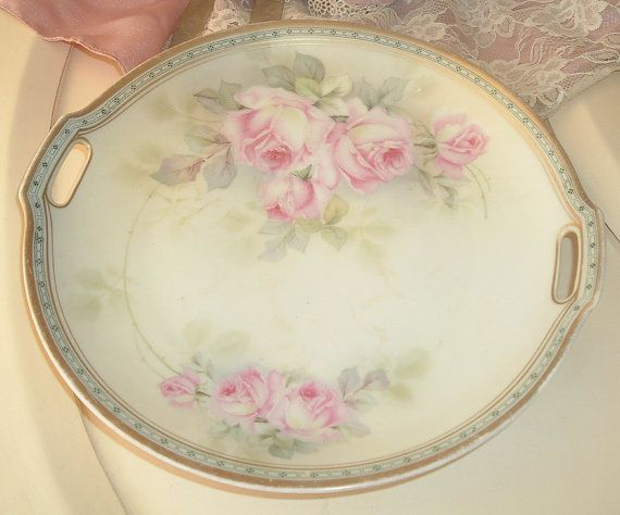 beautiful plate with pink roses JSV Germany door MyVintageRoseShop