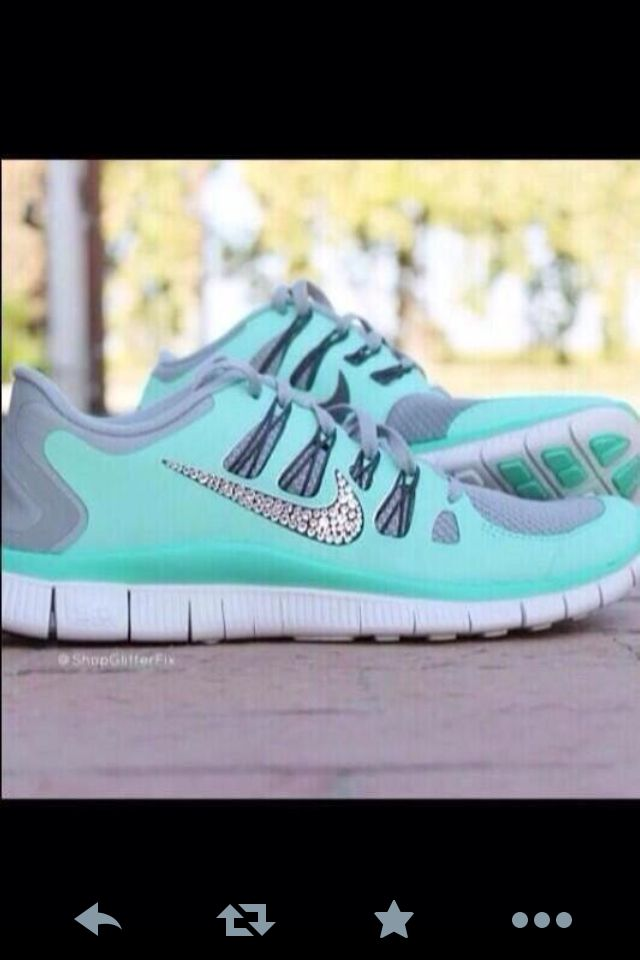 475dcee7a68c Turquoise Nikes with rhinestones 😍