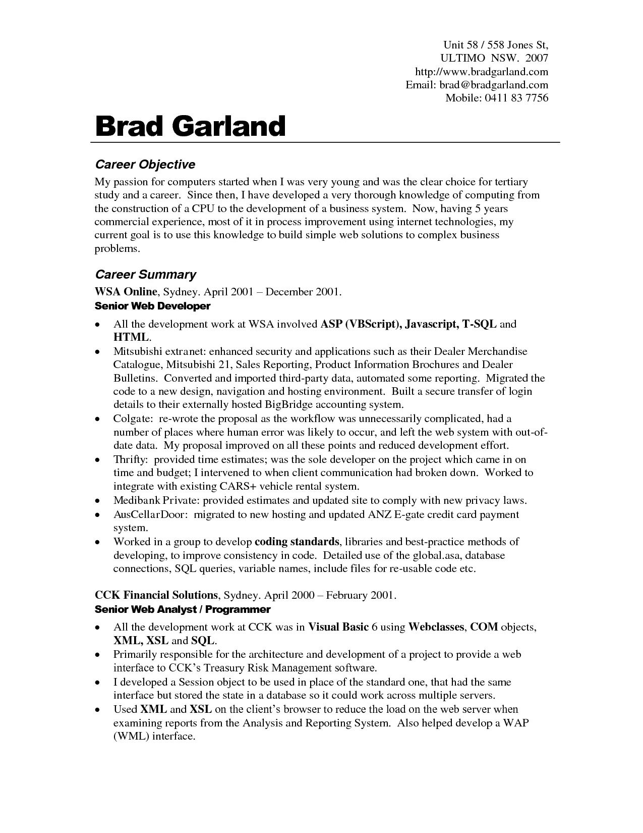 resume samples career objective - Objective In Resume For It