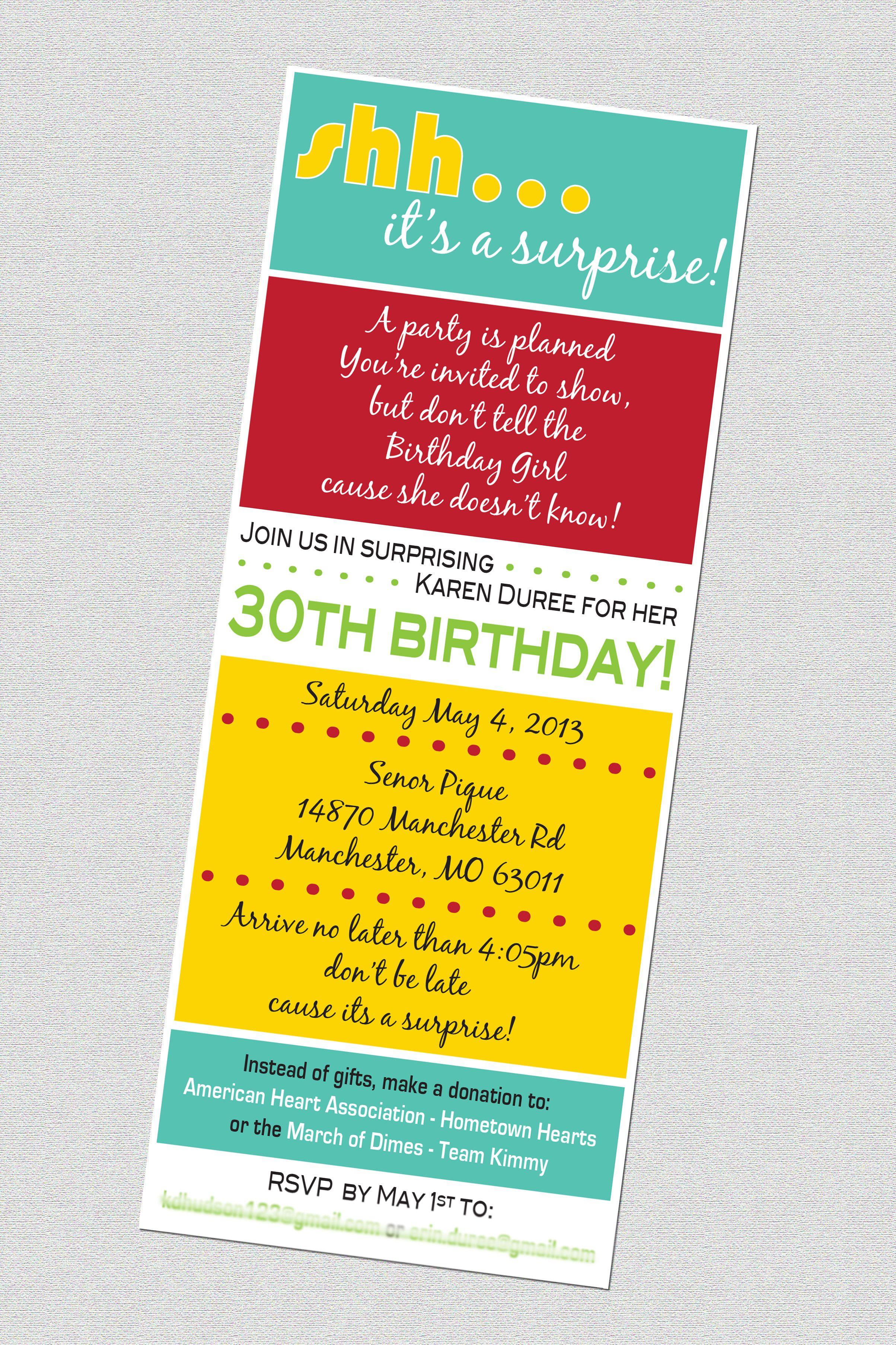 30th birthday surprise party invitation | Jensens | Pinterest ...