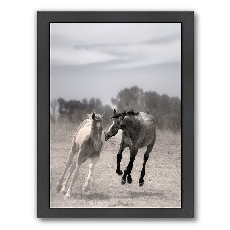 Americanflat ''Playful Pals 4'' Horse Framed Wall Art, Multicolor