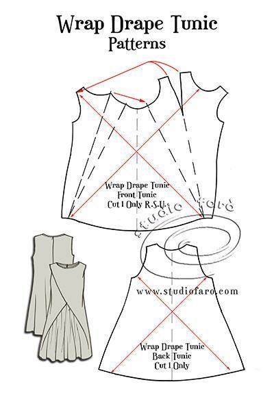 FREE #PatternMaking Instructions Wrap Drape Tunic #
