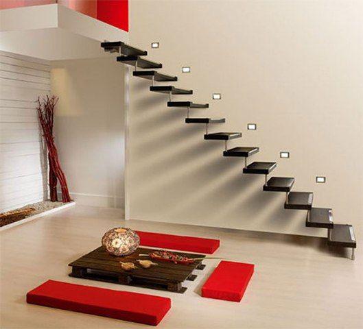 Diseño de escaleras flotantes minimalistas Diseños de Casas e - diseo de escaleras interiores