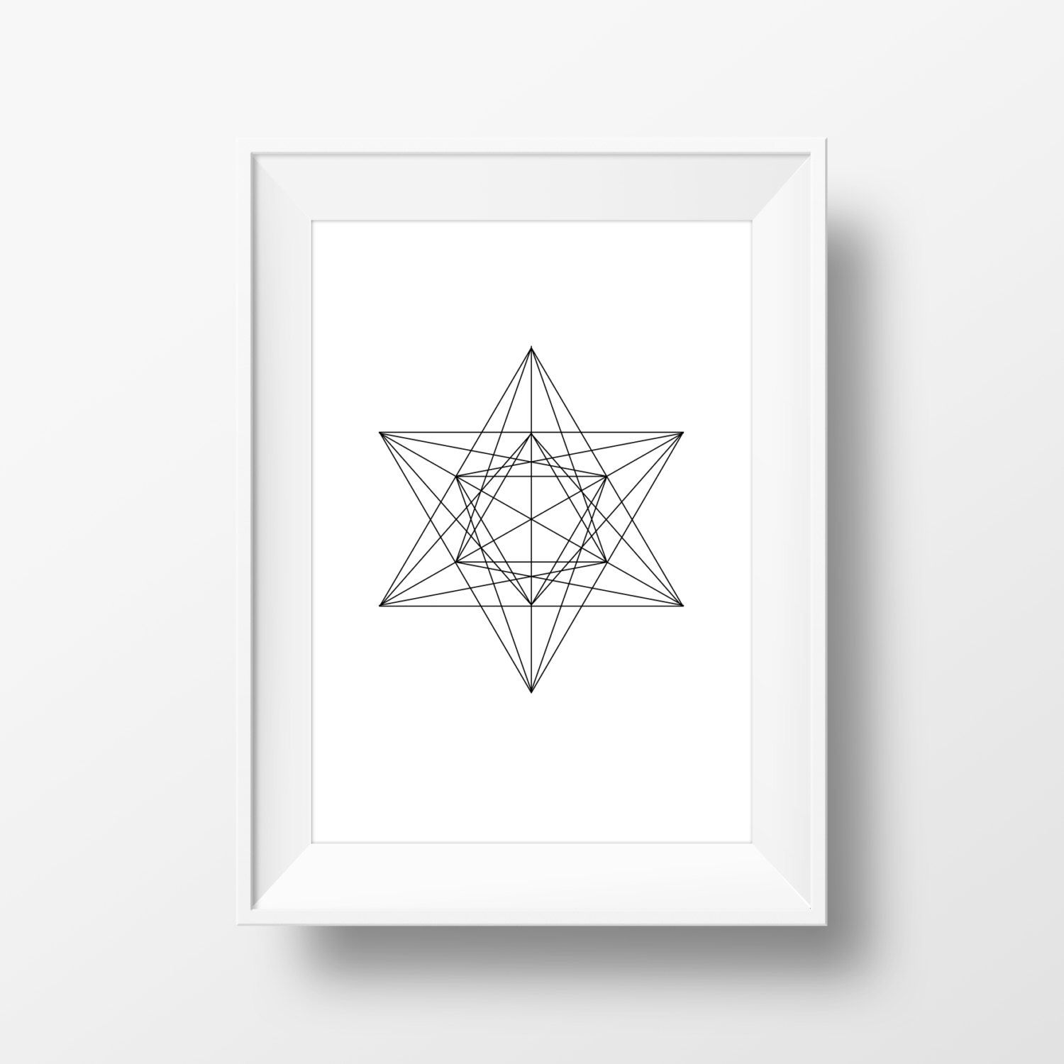 Star geometric wall art black u white geometric print