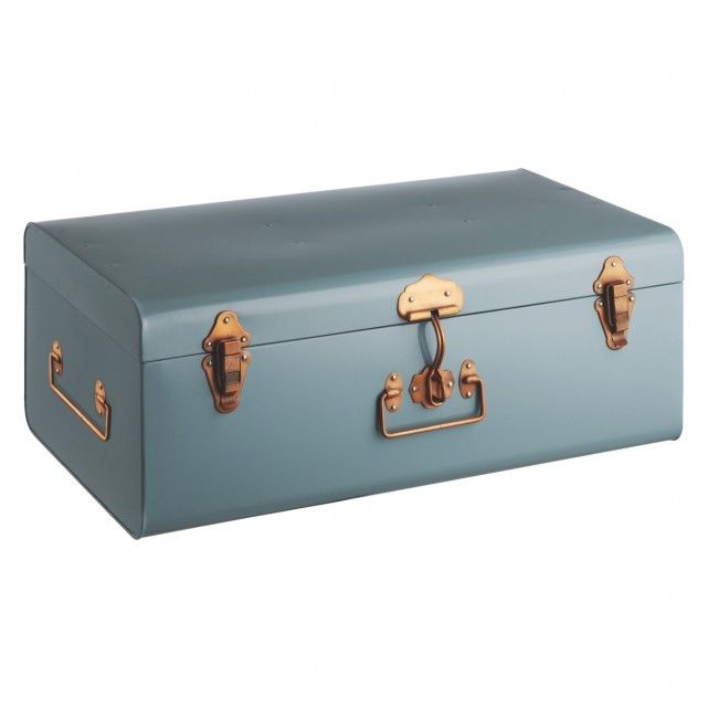 ordinary Teal Storage Trunk Part - 14: TRUNK Blue metal storage trunk