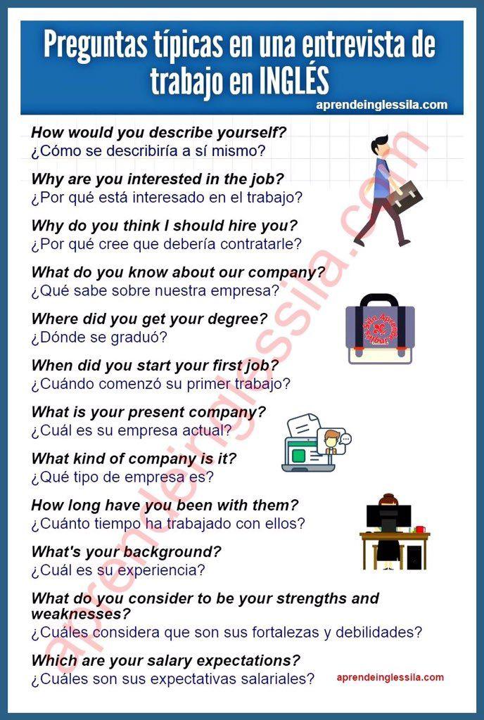 Imagen Insertada Preguntas Entrevista De Trabajo Preguntas Basicas En Ingles Como Aprender Ingles Basico