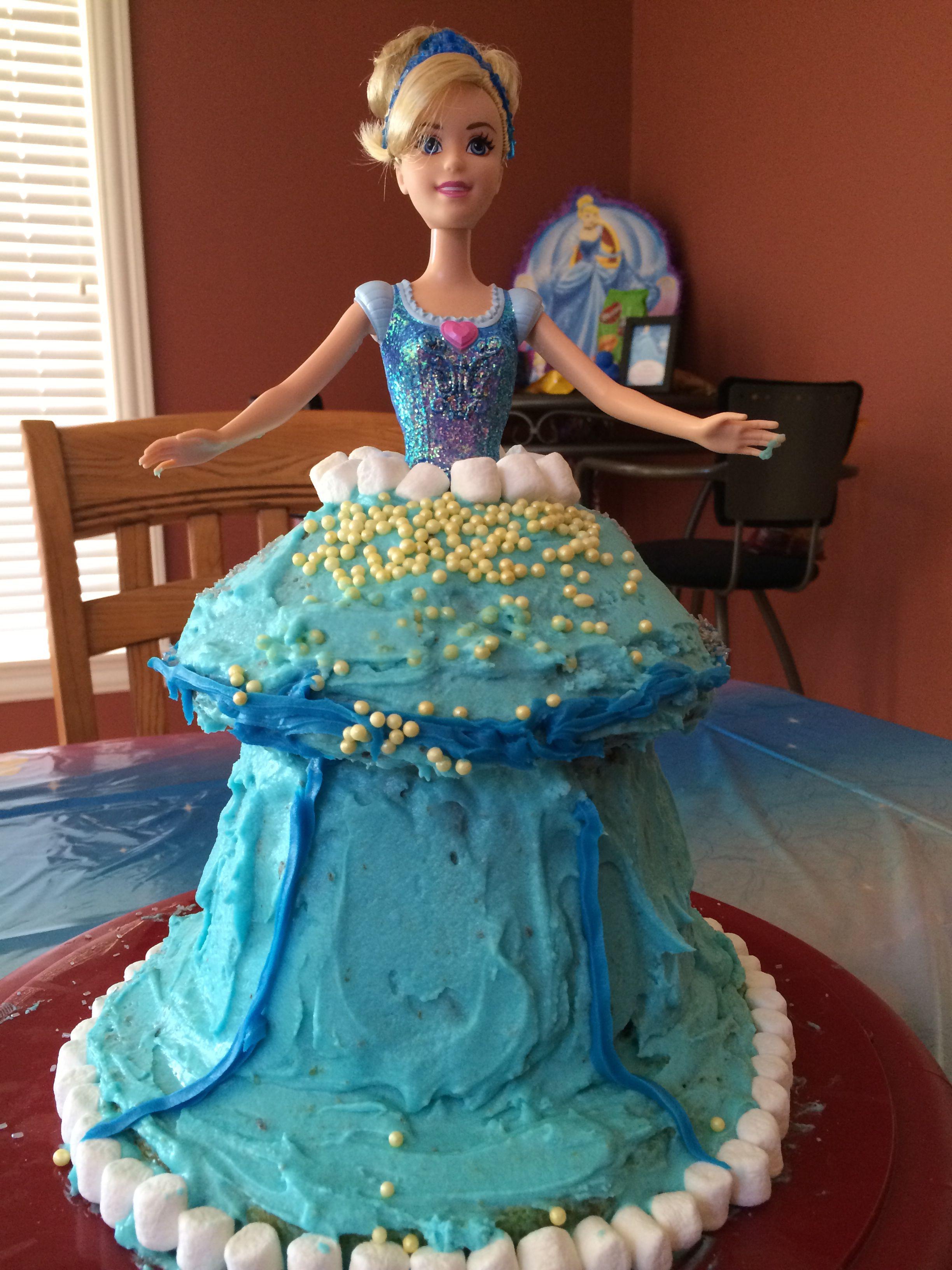 Cinderella birthday cake using giant cupcake pan