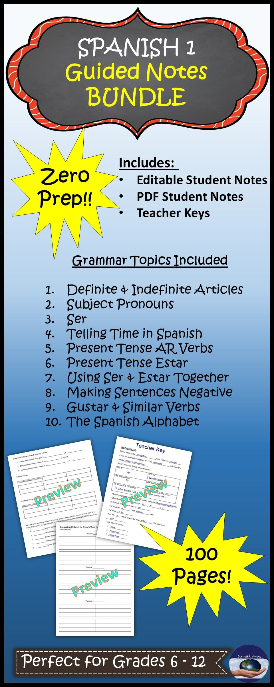 Spanish 1 Guided Notes Bundle with Keys | Education