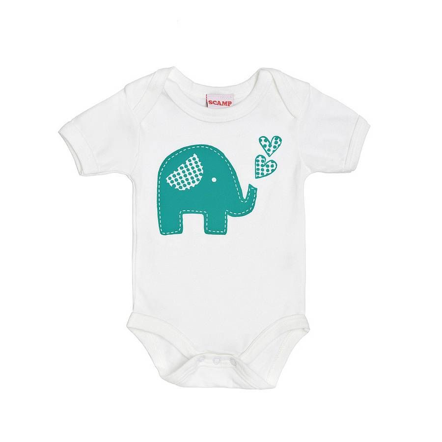Trumpety Elephant Screen Printed Baby Grow  Baby wächst, Baby