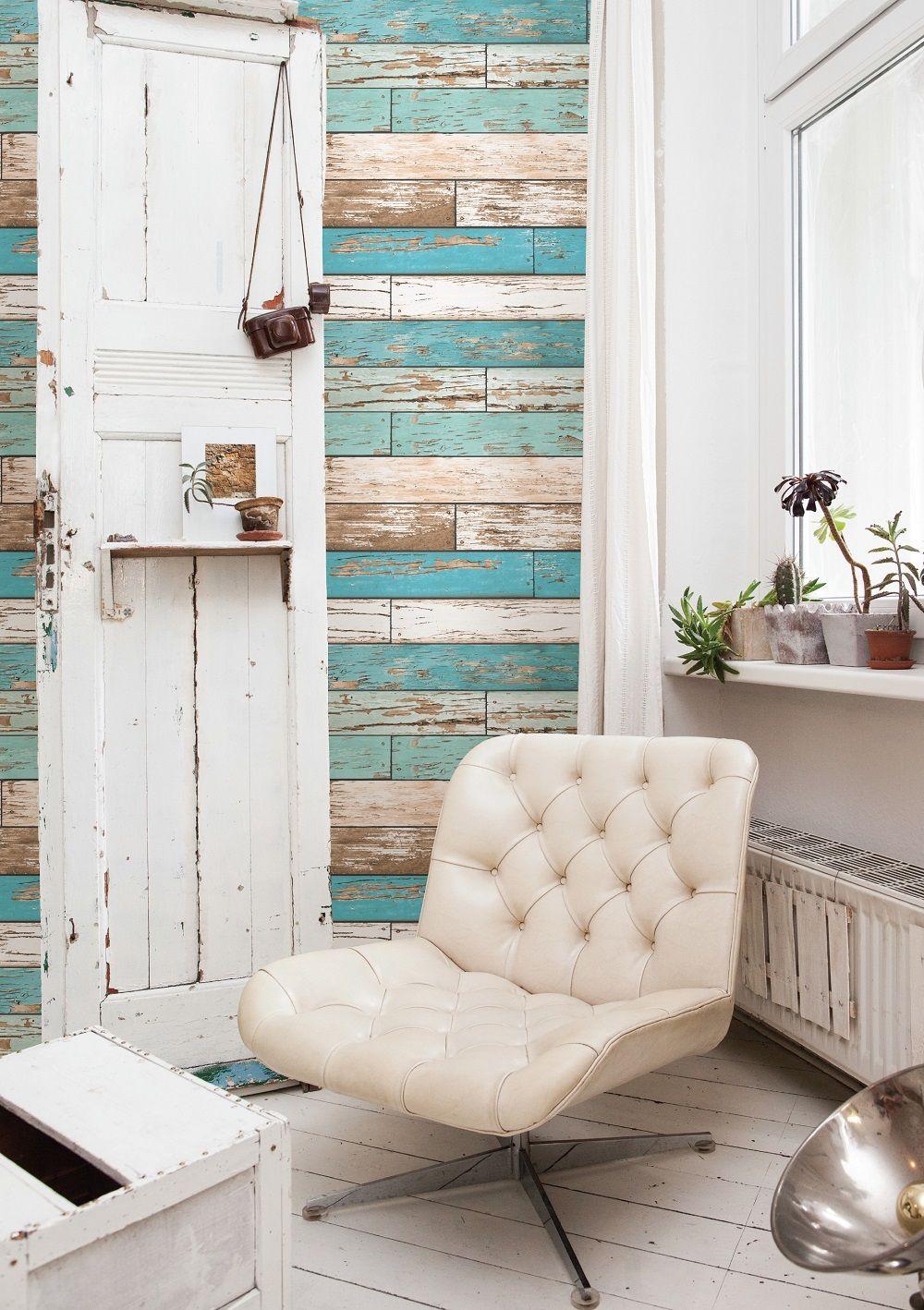 A Street Prints Scrap Wood Teal Wallpaper   Kitchen   Pinterest ...