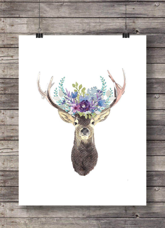 Watercolor deer flower garland  Printable art  peony flower crown floral printable  deer stag antlers woodland decor Instant download #garlandofflowers