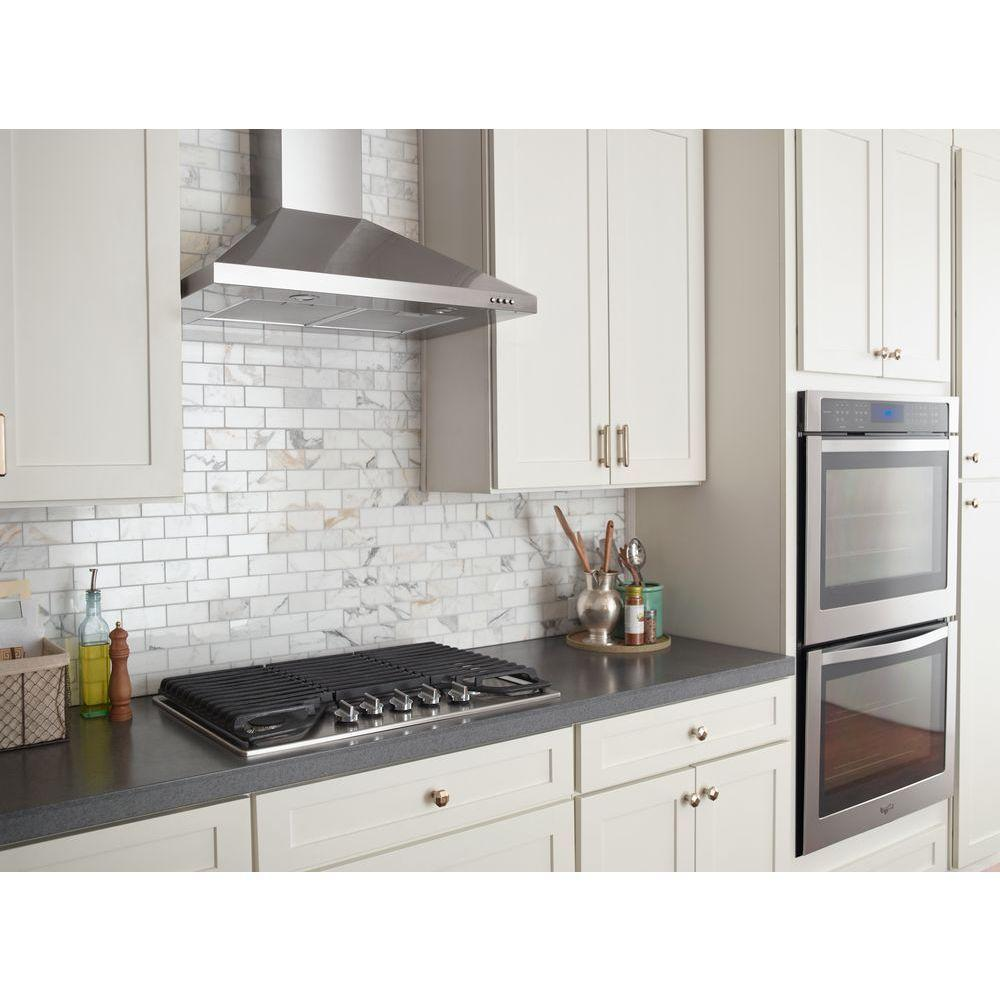 Whirlpool 30 In Contemporary Wall Mount Range Hood In Stainless Steel Wvw53uc0fs The Home Depot Kitchen Design Small Range Hood Stainless Range Hood