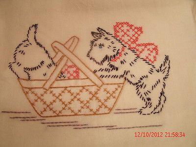 Vintage Scottie embroidered tablecloth