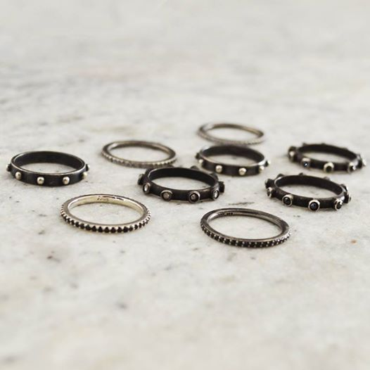 Look at these #gorgeous shades of gunmetal! #Shop our Rosary Ring & Eternity of #Love Band! katiebydesign.com #styleyoursoul