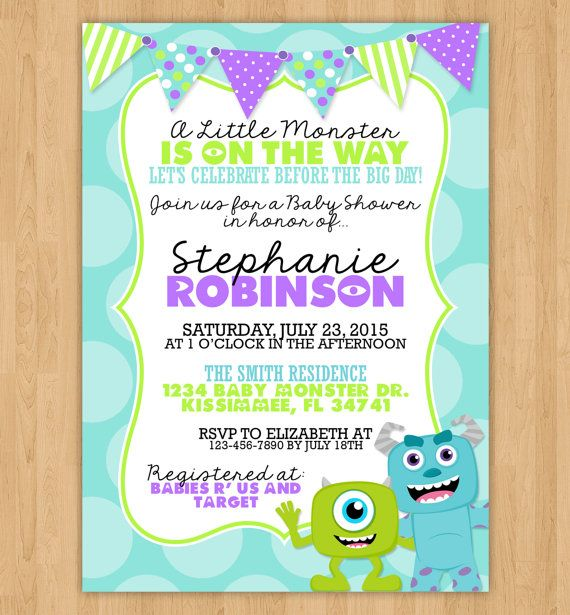 Monsters Inc Inspired Baby Shower Invitation Monsters Babies and