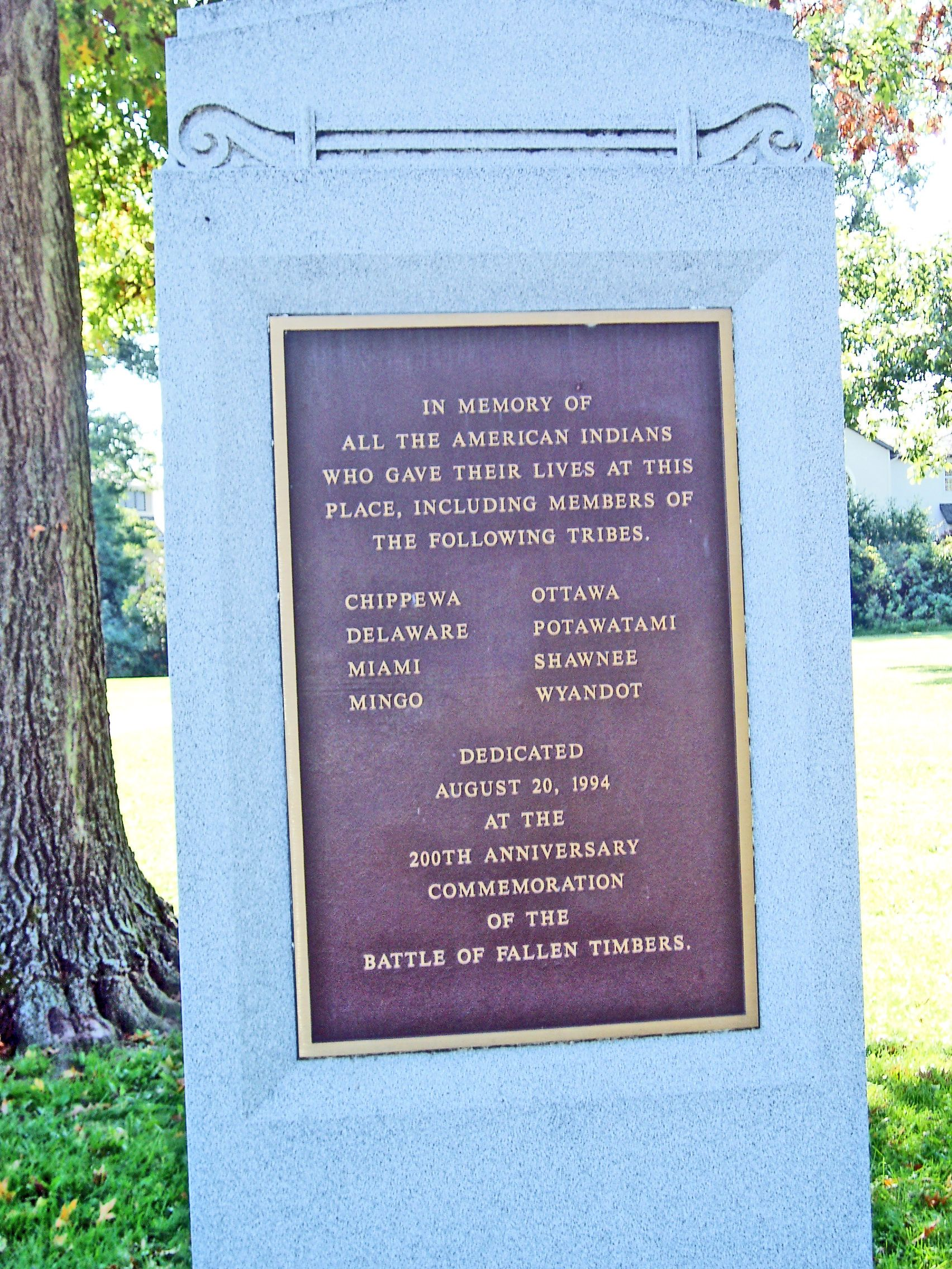 Native American Memorial marker, Fallen Timbers Battlefield and Fort Miamis National Historic Site, Ohio -  In memory of all the American Indians who gave their lives at this place, including members of the following tribes. Chippewa • Ottawa • Delaware • Potawatami • Miami • Shawnee • Mingo • Wyandot