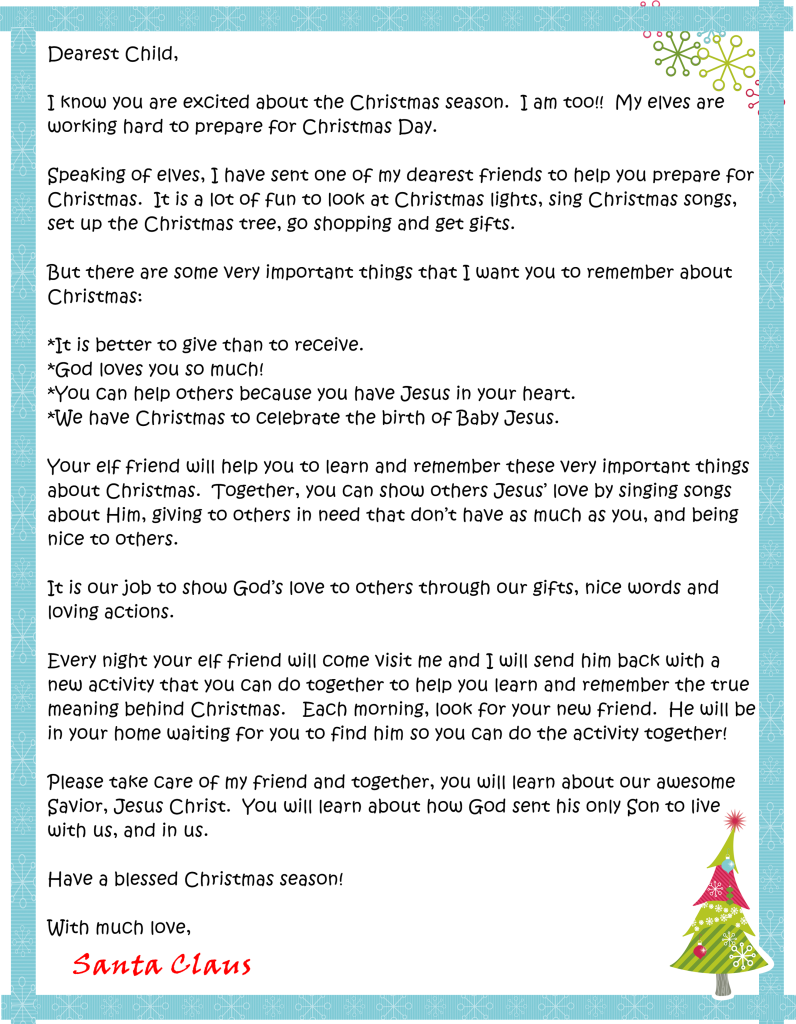 Dearest Child Santa Letter  Christmas    Santa Child