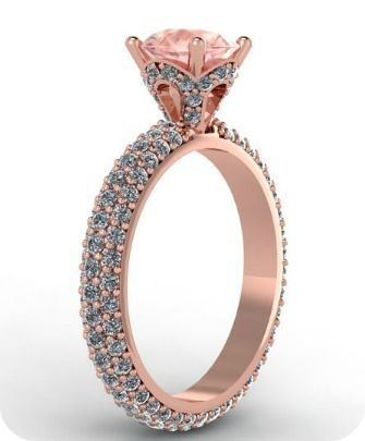 Rose Gold & Diamonds Wedding Ring - Fabian Diamonds. A ring for a princess :) Love this ring with a diamond where the morganite is!