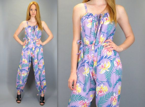 4970ba616a5 Vintage 80s 90s Purple Bold Tropical Floral Print Jumpsuit Pink Yellow  Green Blue Sleeveless Summer One Piece Pants Romper Playsuit Onesie by ...