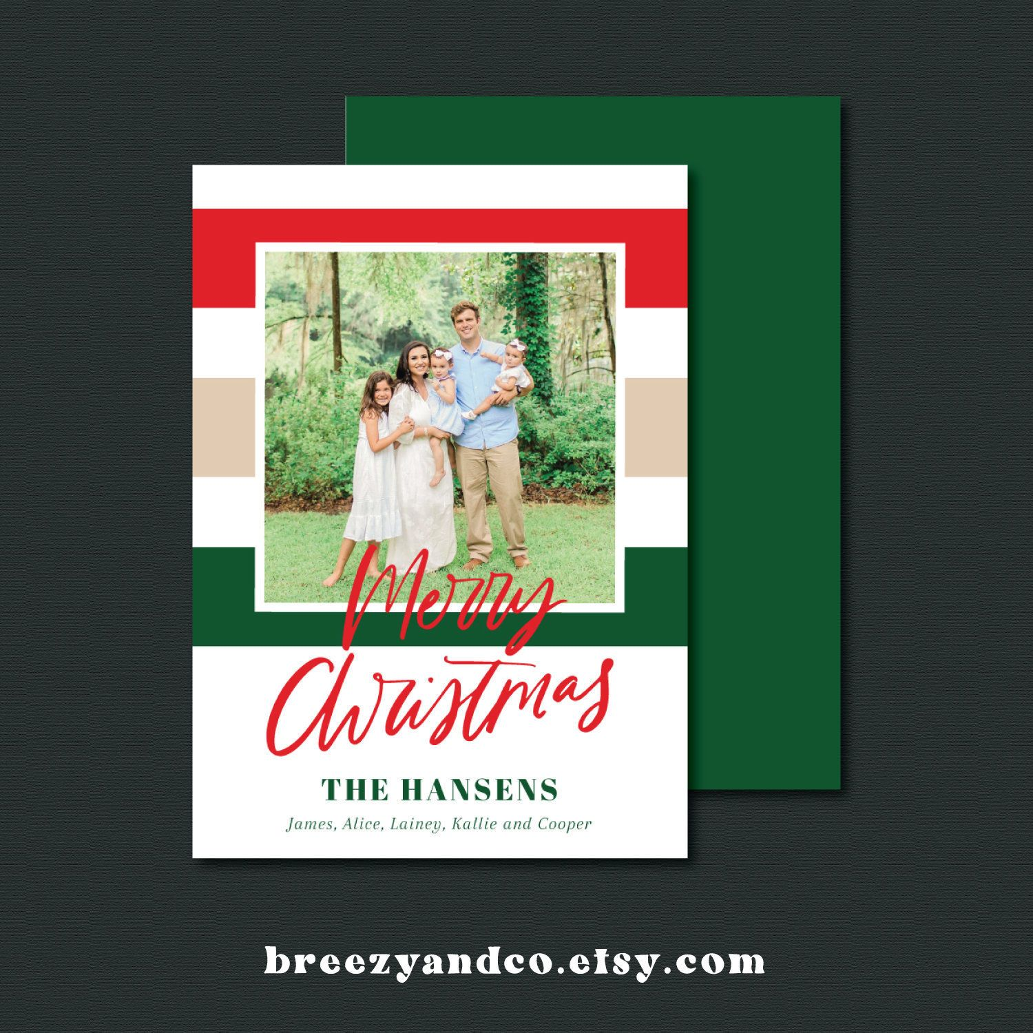 $15 Personalized Christmas Card On Etsy. Love The Stripes