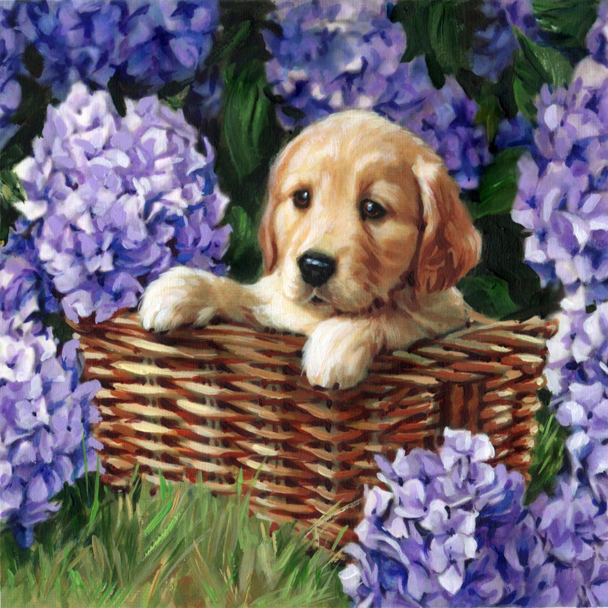 5d Diamond Painting Purple Flowers And Dogs Paint With Diamonds