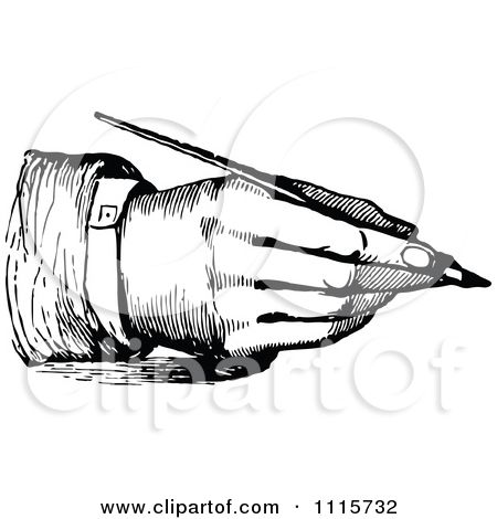 Clipart Retro Vintage Black And White Hand Writing With A