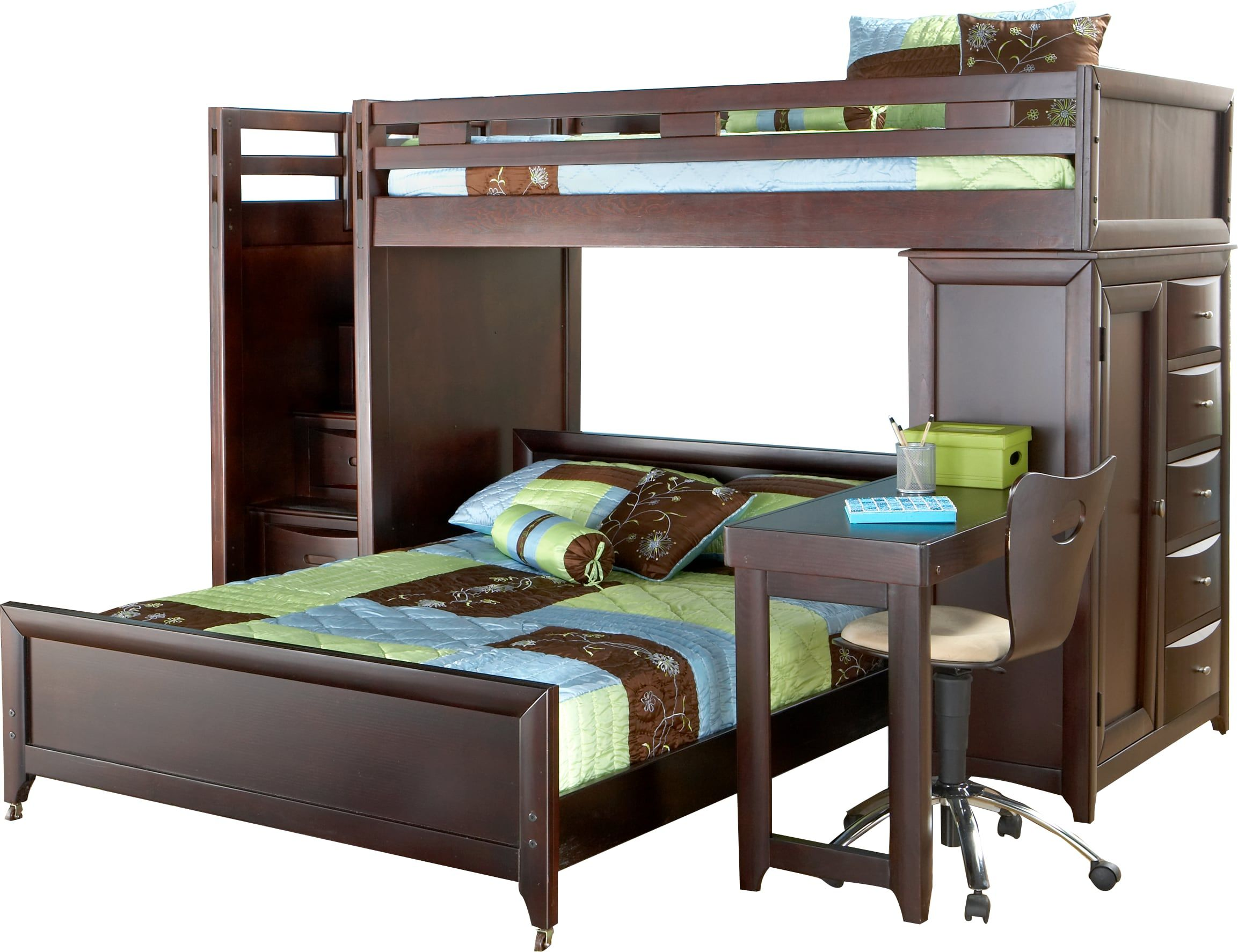 Ivy League Cherry Twin/Full Step Loft Bunk with Chest and