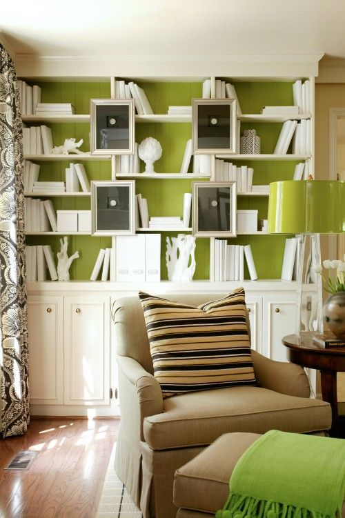 Lime Green Background With White Bookcase And Accessories The Black Art Work Grounds Design