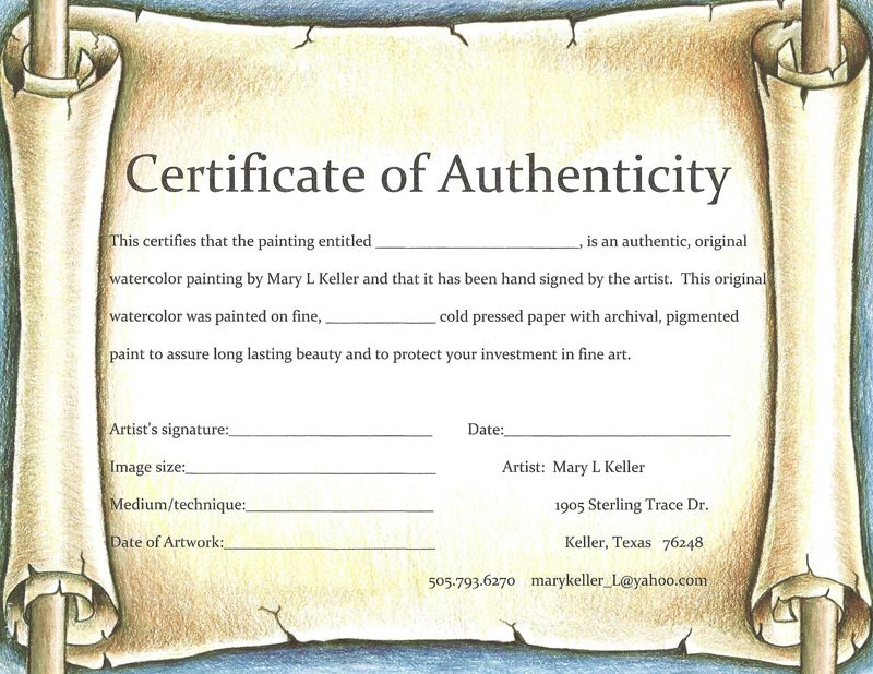certificate of authenticity of an original water color painting - new certificate of authenticity painting