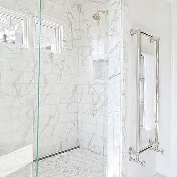 Marble Diamond Pattern Tiled Shower Ceiling Marble Bathroom