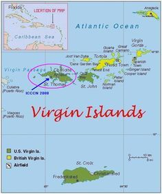 St Thomas US Virgin Islands Vintage Travel Posters - Map st thomas us virgin islands