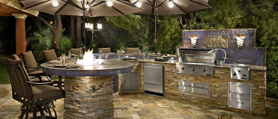 Kitchen Backsplash Las Vegas fascinating las vegas outdoor kitchen with blue porcelain tile for