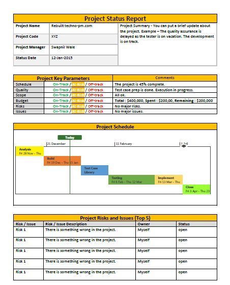 Wonderful Project Status Report Template To Project Status Report Excel