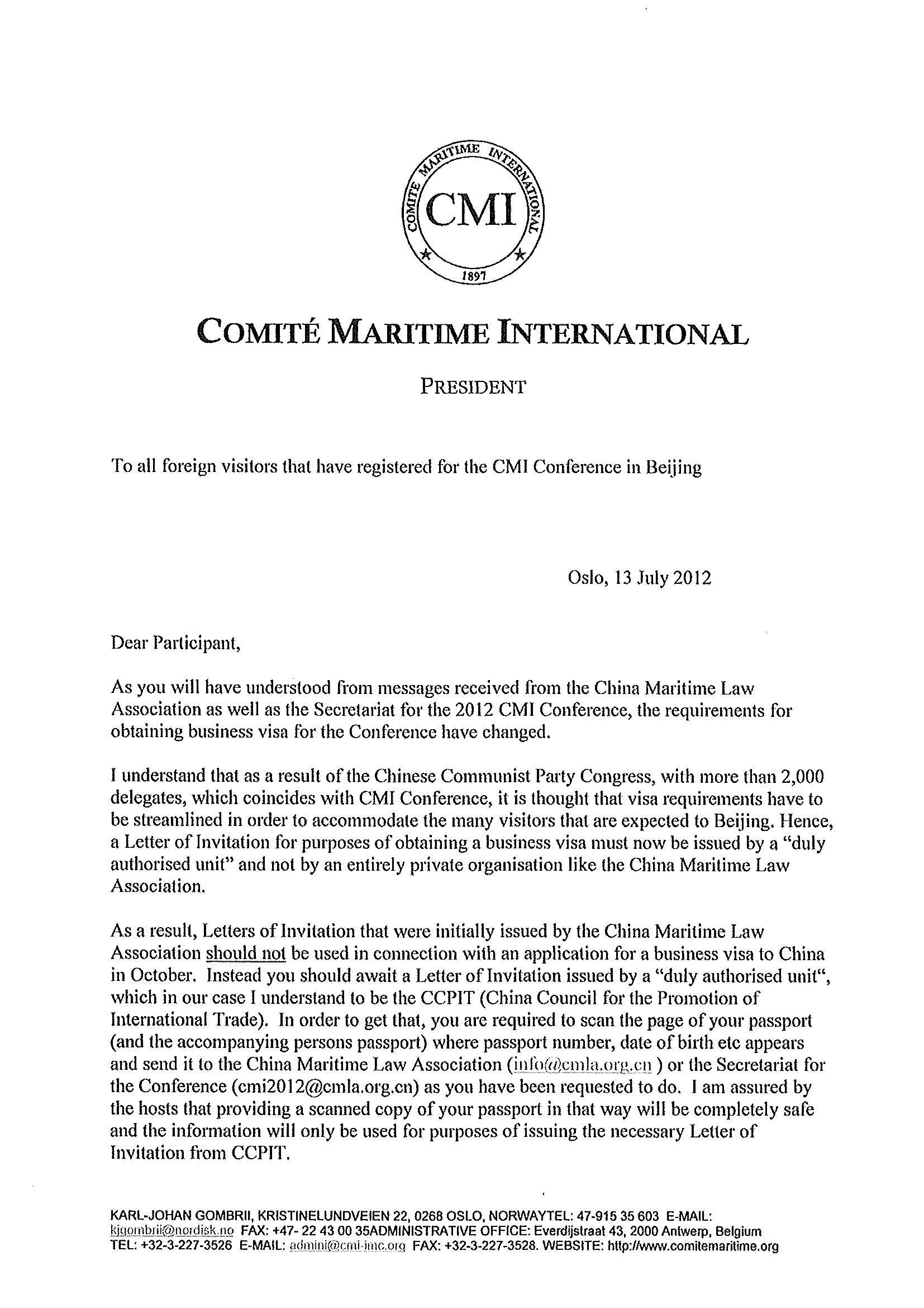 Correspondence From The President Comite Maritime – Letter of Application Sample