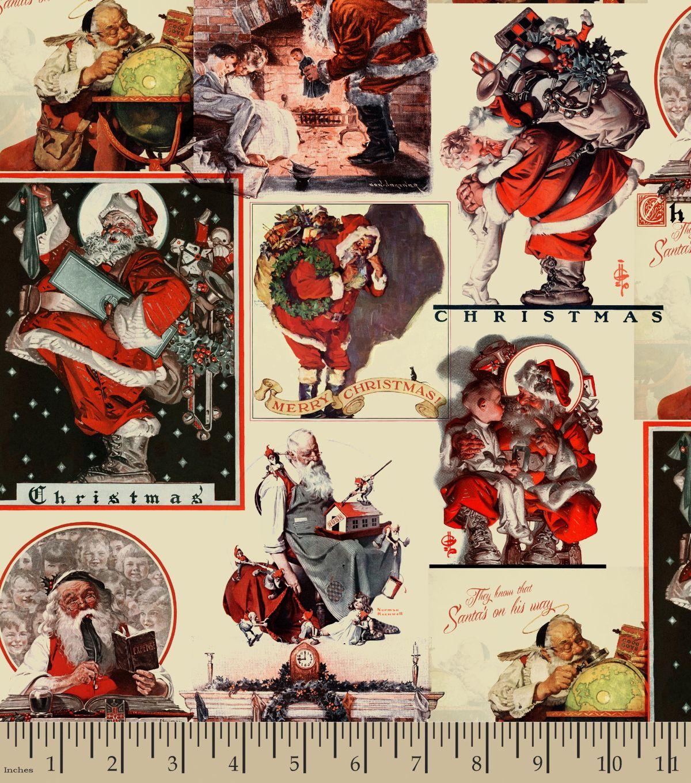 Norman Rockwell Christmas Print Fabric 57\'\'-Santa\'s On His Waynull ...
