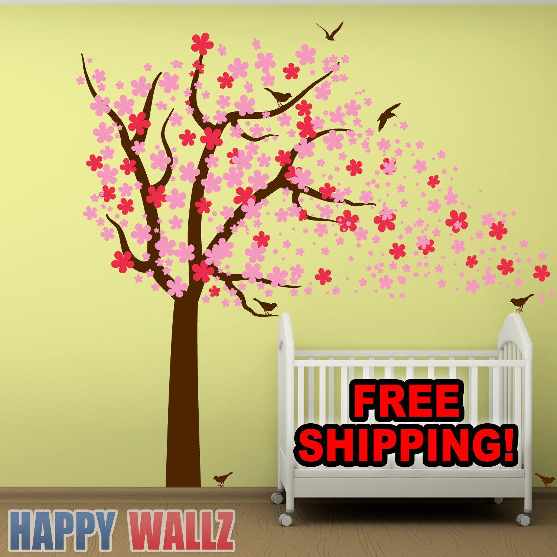 Wall Decal Cherry Blossom Tree Nursery Kids Babys Room Sticker Vinyl ...